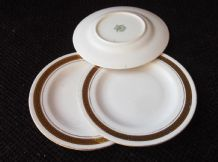 4 X VINTAGE GILDED SMALL SIDE PLATES GREEK KEY RIM TUSCAN BONE CHINA 5.25""